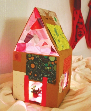 Free Project: Lighted Cardboard Dollhouse from The Artful Year